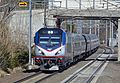 Amtrak 627 with a Northeast Regional in Madison, Connecticut, April 2015.jpg
