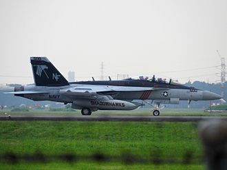 Marine Corps Air Station Iwakuni - EA-18G Growler of VAQ-141 taxies after landing