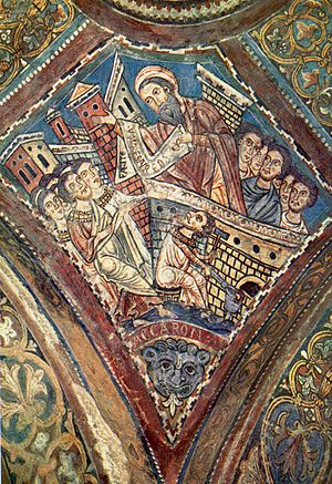 Ekron - Ekron imagined in a medieval fresco illustrating 1 Samuel 5-6 (Cathedral crypt, Anagni, Italy, ca. 1255)