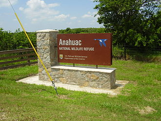 Anahuac National Wildlife Refuge - Anahuac NWR entrance sign