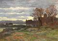 Anders Andersen-Lundby - Huse ved en sø, aftenstemning.png