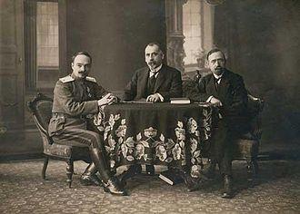 Armistice of Salonica - The Bulgarian delegates: Major General Ivan Lukov, Andrey Lyapchev and Simeon Radev.