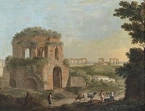 """Temple of Minerva Medica (nymphaeum) - Paolo Anesi """"Veduta con il Tempio di Minerva Medica e un acquedotto Olio su tela"""""""