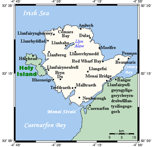 Holy Island, Anglesey - A map showing the Isle of Anglesey and Holy Island