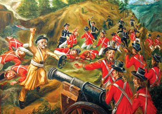 Anglo-Nepalese War - Bhakti Thapa (in yellow) leading Nepali soldiers at the grand old age of 74 at Anglo-Nepalese War