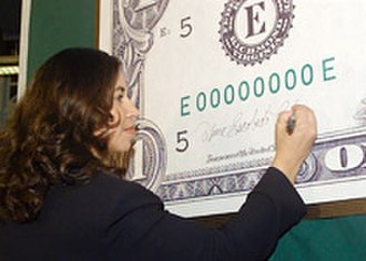 Anna Escobedo Cabral - U.S. Treasurer provides signature for new US Currency, April, 2005