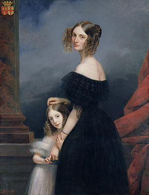 Claude-Marie Dubufe - Image: Anne Louise Alix de Montmorency, with her daughter, c.1840