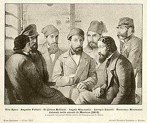 Belfiore martyrs - Image: Anon Speri Fattori Boldrini Giacomelli Lazzati Montanari carceri Mantova 1853 ca 1875