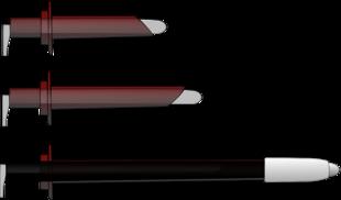 Un anoscopio, un proctoscopio ed un rettoscopio, e le loro lunghezze approssimative.