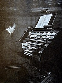D'Antalffy playing a large organ in Budapest as a young man