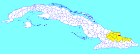 Antilla municipality (red) within  Holguín Province (yellow) and Cuba