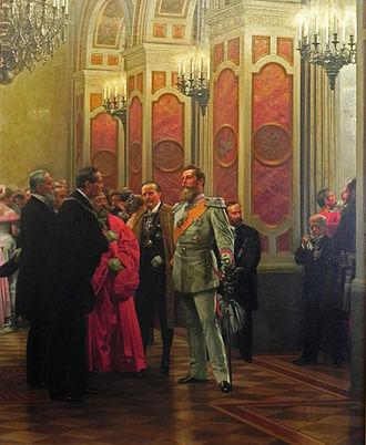 Max von Forckenbeck - Mayor Forckenbeck (left) and Crown Prince Frederick at the Berlin Court Ball 1878, painting by Anton von Werner (1895)