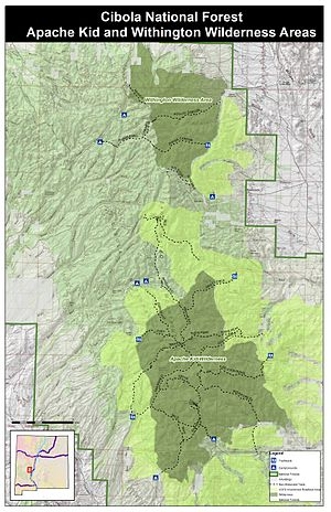 San Mateo Mountains (Socorro County, New Mexico) - A map of the San Mateo Mountains showing the Apache Kid and Withington Wilderness Areas. The map also indicates the locations of Inventoried Roadless Areas.