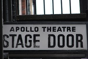 Stage Door sign of Apollo Theatre in London