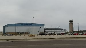 Appleton International Airport - Tower and Gulfstream Hangar