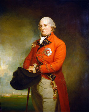 Archibald Campbell (British Army officer, born 1739) - Archibald Campbell by George Romney, c.1792, wearing the uniform of a major-general and the star of the Order of the Bath, and with Madras's Fort St. George in the background