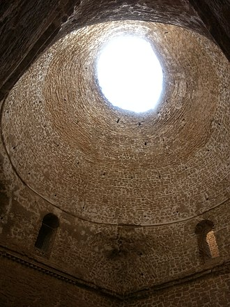 Islamic architecture - Interior of the Palace of Ardashir of pre-Islamic Persia. The use of squinches to position the dome on top of a square structure is considered the most significant Sasanian contribution to the Islamic architecture