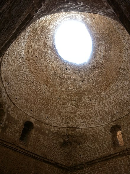 Interior of the Palace of Ardashir of pre-Islamic Persia. The use of squinches to position the dome on top of a square structure is considered the most significant Sasanian contribution to the Islamic architecture Ardeshir Palace, Firoozabad, Fars (khkh rdshyr ssny, fyrwzabd, frs) - panoramio (2).jpg