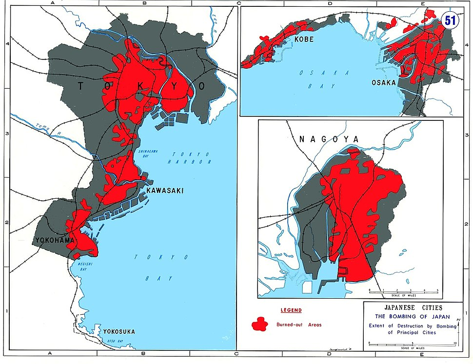 Areas of principal Japanese cities destoyed by US bombing