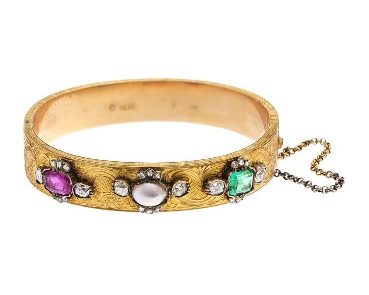 Armband av guld med ädelstenar och pärla, 1897 - Hallwylska museet - 110128
