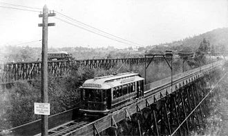 Garvanza, Los Angeles - 1895:Pasadena and Los Angeles Electric Railway and Los Angeles and San Gabriel Valley Railroad train in the Arroyo Seco at Garvanza