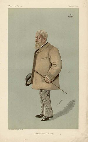 """Arthur Wrottesley, 3rd Baron Wrottesley - """"A Staffordshire Peer"""" Lord Wrottesley as caricatured in Vanity Fair, June 1895"""