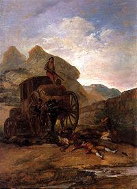 Asalto de ladrones, 1794.Óleo sobre hojalata. 42 x 31 cm.