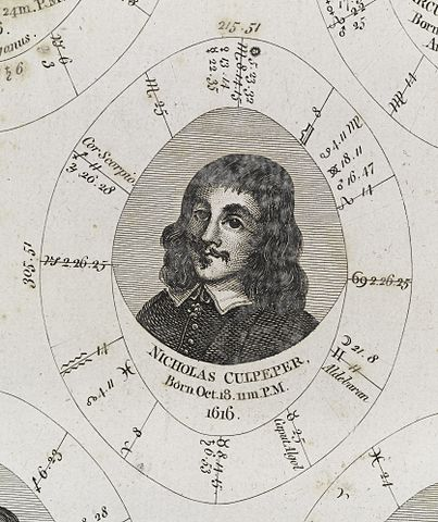Natal Chart: Astrological birth chart for Nicholas Culpeper Wellcome ,Chart