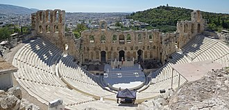 The Odeon of Herodes Atticus in Athens, built in 161 AD Athen Odeon Herodes Atticus BW 2017-10-09 13-12-44.jpg