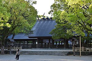 The Great Atsuta Shrine, which dates back to c. 100 AD and houses the holy sword Kusanagi, one of the imperial regalia of Japan Atsuta Shrine.jpg