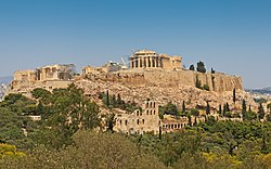 The Acropolis of Athens, seen from the hill of the Pnyx to the west.