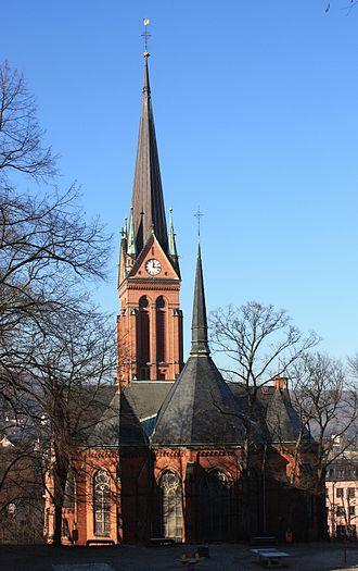 St. Nicholas' Church, Aue - East side: Choir and ridge turret
