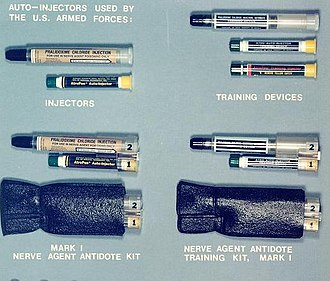 Autoinjector - A variety of autoinjectors in use with the US Armed Forces