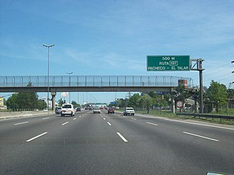 National Route 9 (Argentina) - Approaching the National Route 8 junction, El Talar.