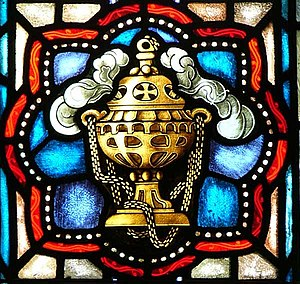 Ritualism in the Church of England - Image of a thurible in a stained glass window, St. Ignatius Church, Chestnut Hill, Massachusetts