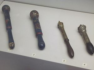 Tipstaff - Tipstaves (the short club after which the office is named) on display at Bedford Museum