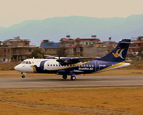 BUDDHA AIR ATR42 9N-AIM LANDING AT POKHARA AIRPORT NEPAL FEB 2013 (8506249089).jpg