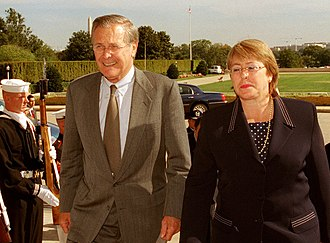 Michelle Bachelet - Bachelet, as Minister of Defense, meeting with U.S. Secretary of Defense Donald Rumsfeld in 2002