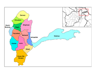 Districts of Afghanistan - Districts of Badakhshan before 2005.