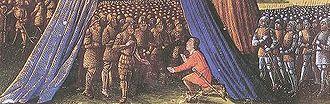 Siege of Jerusalem (1187) - Balian of Ibelin surrendering the city of Jerusalem to Saladin, from Les Passages faits Outremer par les Français contre les Turcs et autres Sarrasins et Maures outremarins, c. 1490