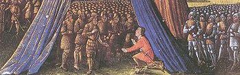 Balian von Ibelin hands over Jerusalem to Saladin, from Les Passages faits Outremer par les Français contre les Turcs et autres Sarrasins et Maures outremarins, around 1490