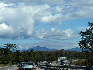 Titiwangsa Mountains - The Titiwangsa Mountains from the Highway near Slim River.