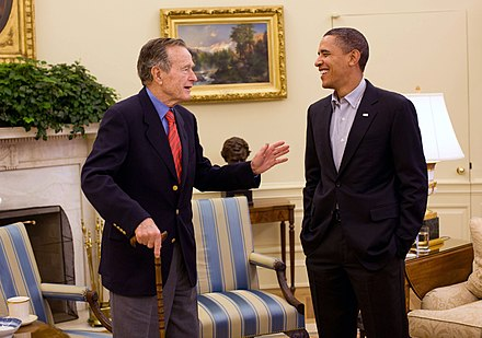 Bush meets President Barack Obama in the Oval Office, January 30, 2010 Barack Obama and George H. W. Bush in the Oval Office.jpg