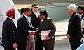 Barack Obama and the First Lady Mrs. Michelle Obama being welcomed by the Chief Minister of Maharashtra, Shri Ashok Chavan on their arrival, at Chhatrapati Shivaji International Airport, in Mumbai, on November 06, 2010.jpg