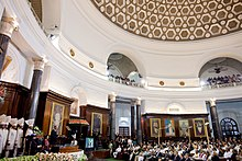 Barack Obama at Parliament of India in New Delhi addressing Joint session of both houses 2010.jpg