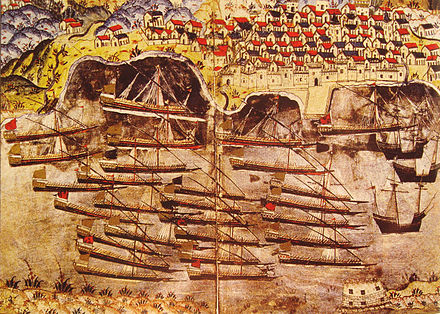 Barbarossa's Ottoman fleet, of the Regency of Algiers, wintering in the harbour of Toulon in 1543, with the Tour Royale (bottom right). Barbarossa fleet wintering in Toulon 1543.jpg