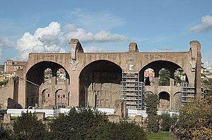Basilica of Maxentius - Remains of the Basilica of Maxentius and Constantine. The building's northern aisle is all that remains.