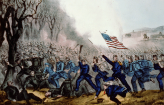 Battle of Mill Springs - Battle of Mill Springs by Currier and Ives