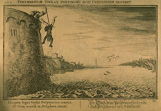 Polymestor - Polymnestor kills Polydorus. Engraving by Bauer for Ovid's Metamorphoses