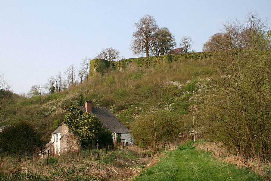 Beaumont, Belgium, the former communal water mill (XVIIth century) and the city walls (XIIth century).